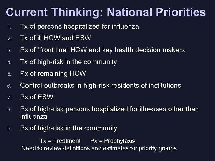 Current Thinking: National Priorities 1. Tx of persons hospitalized for influenza 2. Tx of