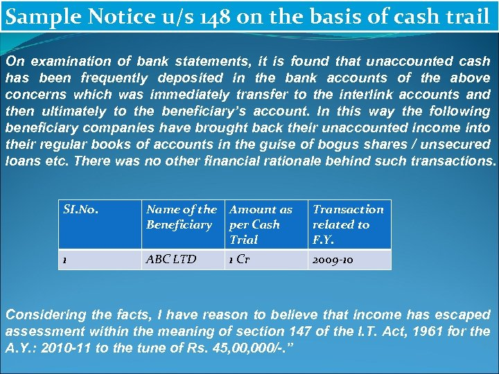 Sample Notice u/s 148 on the basis of cash trail On examination of bank