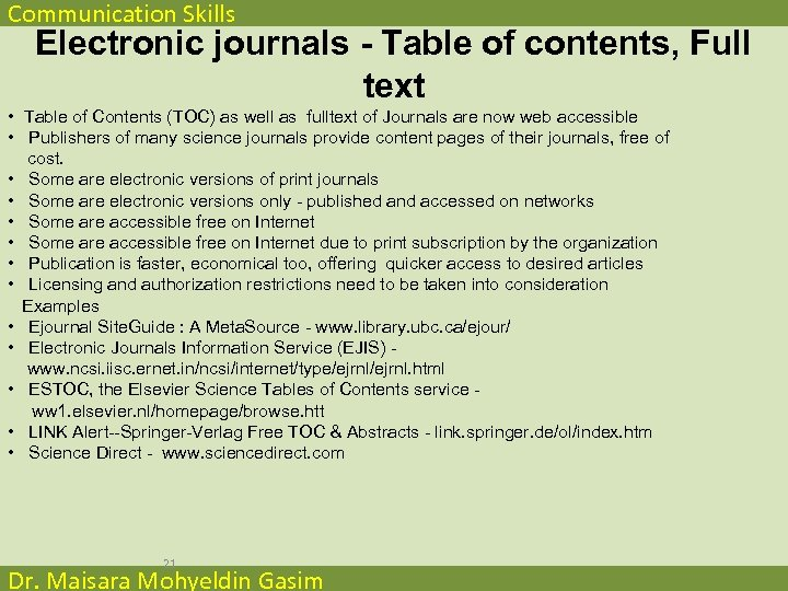 Communication Skills Electronic journals - Table of contents, Full text • Table of Contents