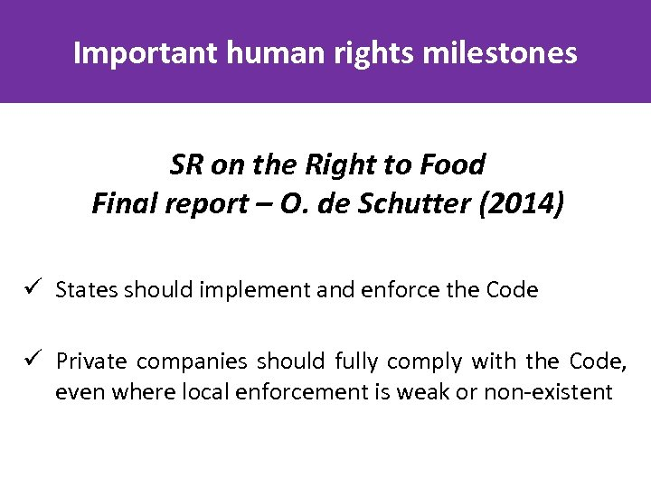 Important human rights milestones SR on the Right to Food Final report – O.