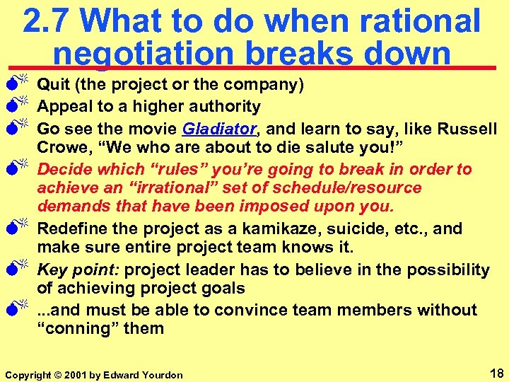 2. 7 What to do when rational negotiation breaks down M M M M