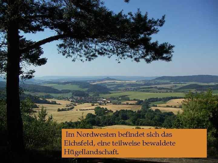 Im Nordwesten befindet sich das Eichsfeld, eine teilweise bewaldete Hügellandschaft.