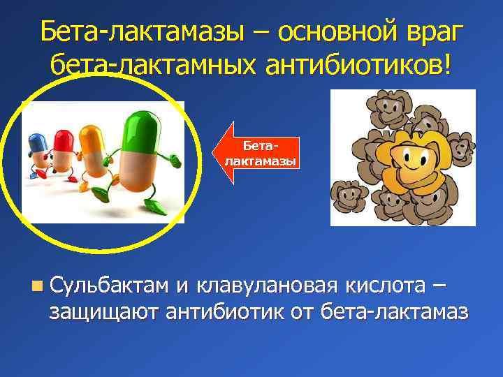 Бета-лактамазы – основной враг бета-лактамных антибиотиков! Беталактамазы n Сульбактам и клавулановая кислота – защищают