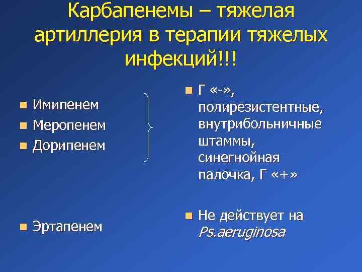Карбапенемы – тяжелая артиллерия в терапии тяжелых инфекций!!! Имипенем n Меропенем n Дорипенем n