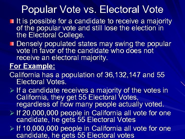 Popular Vote vs. Electoral Vote It is possible for a candidate to receive a