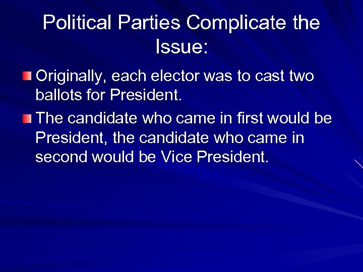 Political Parties Complicate the Issue: Originally, each elector was to cast two ballots for
