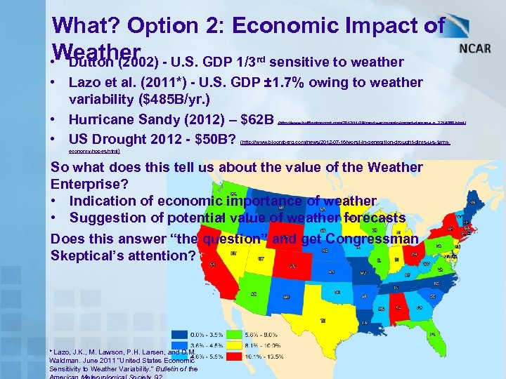 What? Option 2: Economic Impact of • Weather - U. S. GDP 1/3 rd