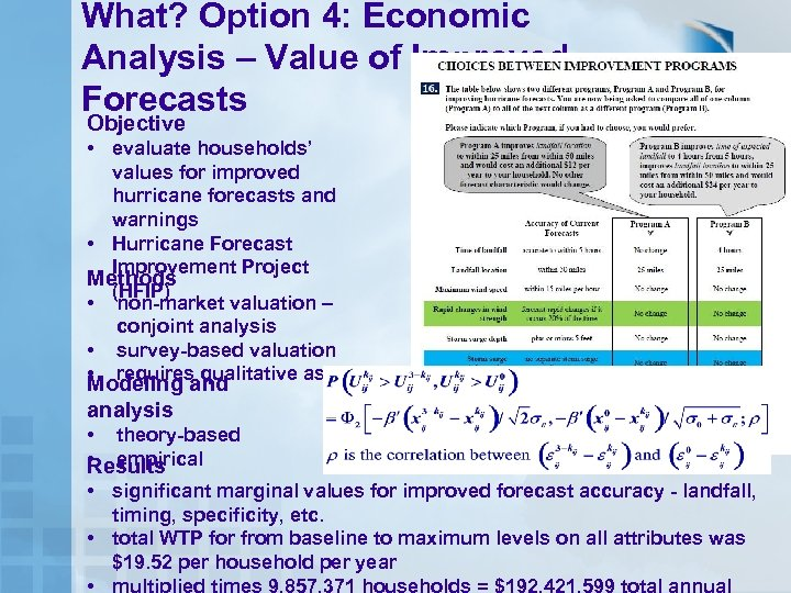 What? Option 4: Economic Analysis – Value of Improved Forecasts Objective • evaluate households'