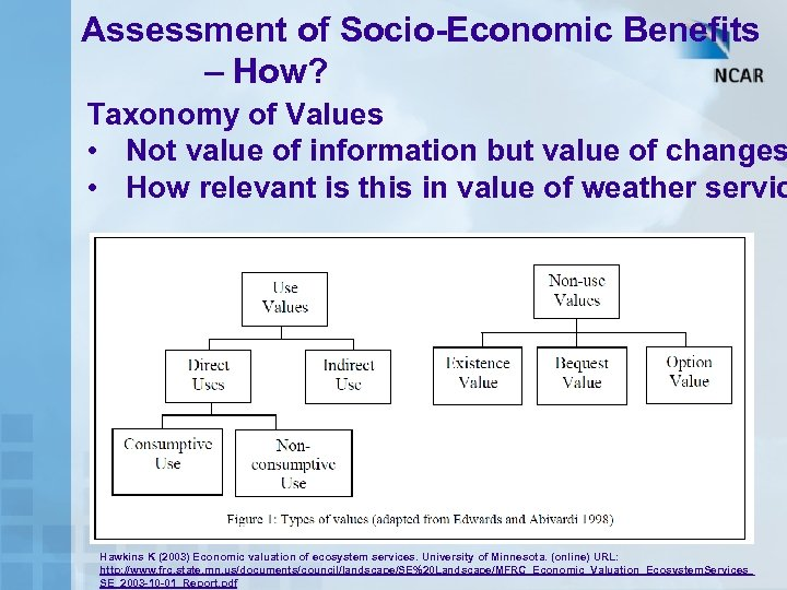 Assessment of Socio-Economic Benefits – How? Taxonomy of Values • Not value of information