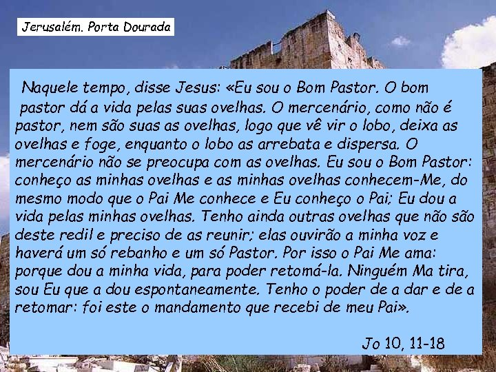 Jerusalém. Porta Dourada Naquele tempo, disse Jesus: «Eu sou o Bom Pastor. O bom