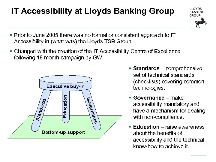 IT Accessibility at Lloyds Banking Group § Prior to June 2005 there was no
