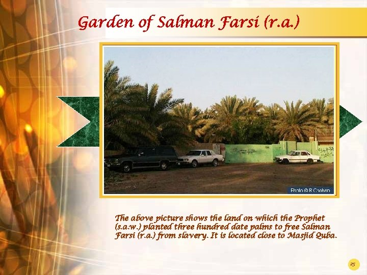 Garden of Salman Farsi (r. a. ) The above picture shows the land on
