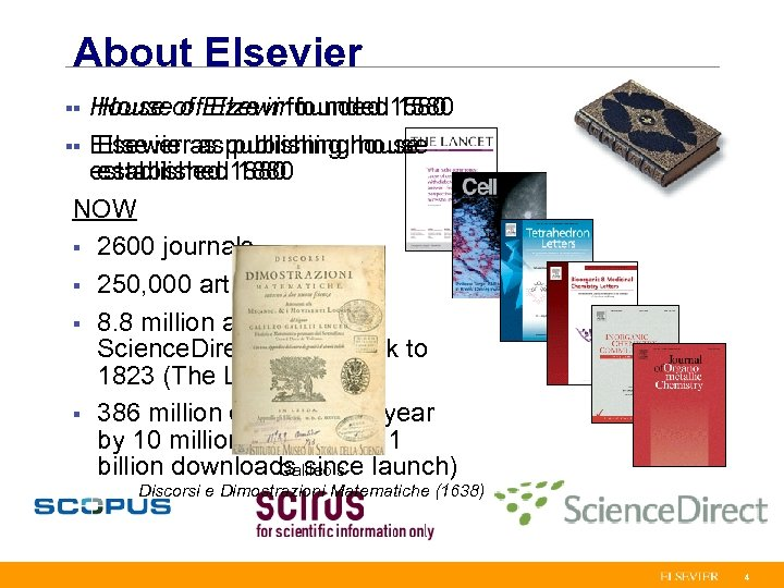 About Elsevier House of Elzevir founded 1580 §§ Elsevier as publishing house established 1880