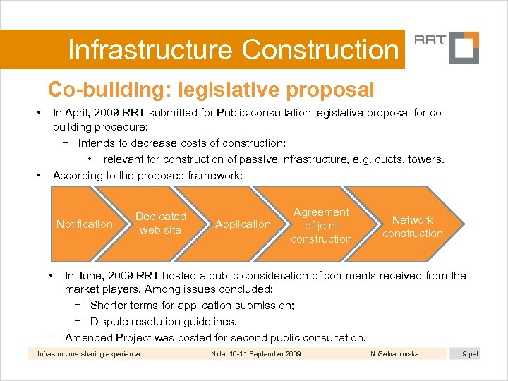 Infrastructure Construction Co-building: legislative proposal • • In April, 2009 RRT submitted for Public
