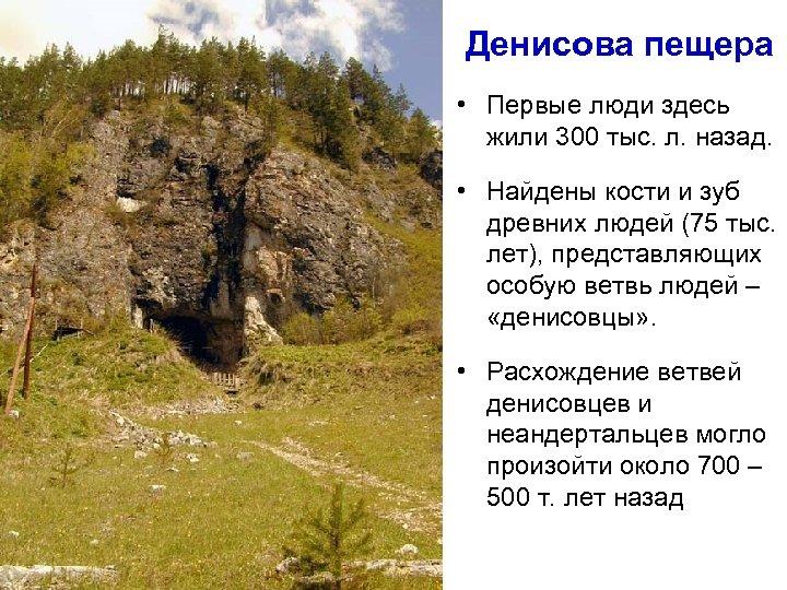 Денисова пещера • Первые люди здесь жили 300 тыс. л. назад. • Найдены кости
