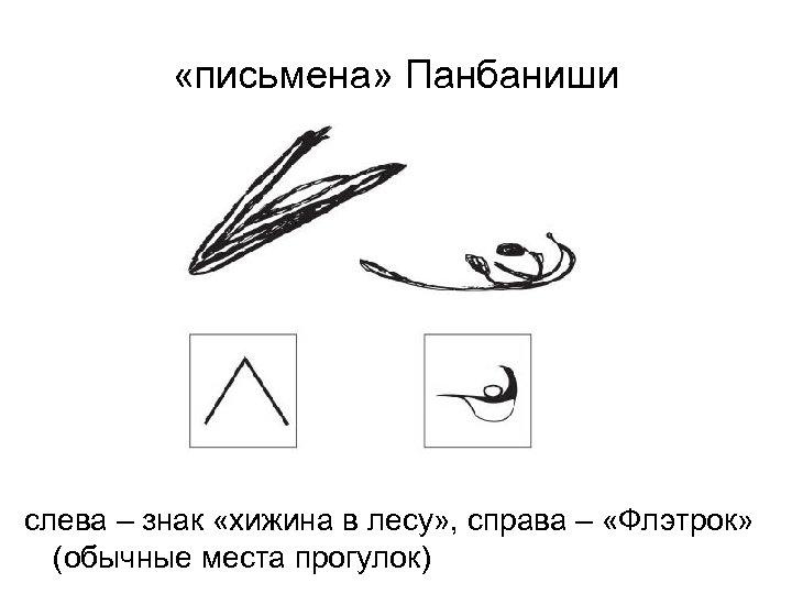 «письмена» Панбаниши слева – знак «хижина в лесу» , справа – «Флэтрок» (обычные