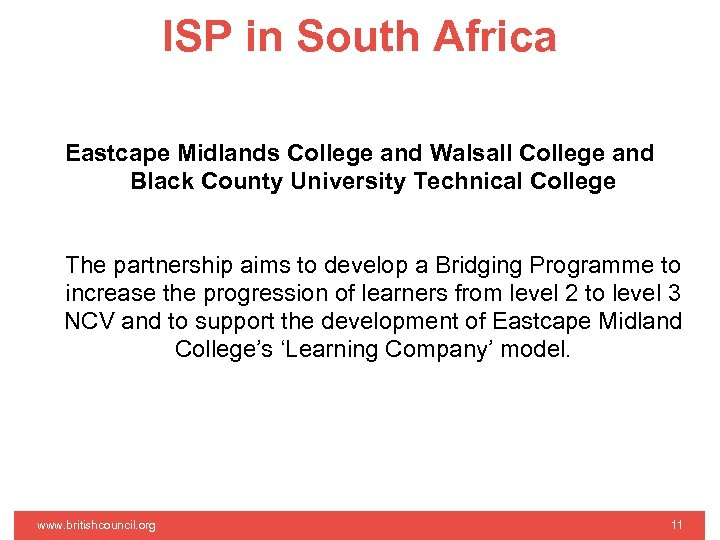 ISP in South Africa Eastcape Midlands College and Walsall College and Black County University