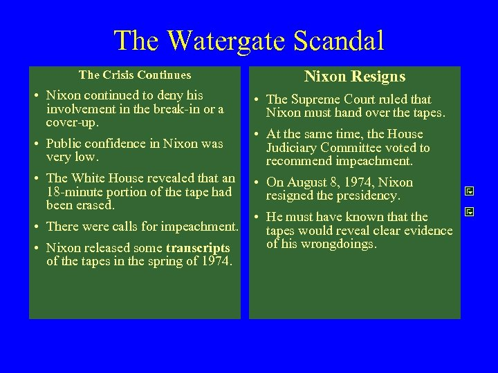 The Watergate Scandal The Crisis Continues • Nixon continued to deny his involvement in