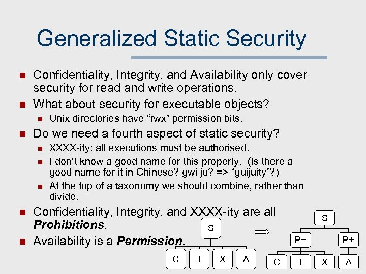 Generalized Static Security n n Confidentiality, Integrity, and Availability only cover security for read