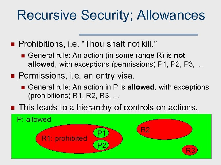"Recursive Security; Allowances n Prohibitions, i. e. ""Thou shalt not kill. "" n n"