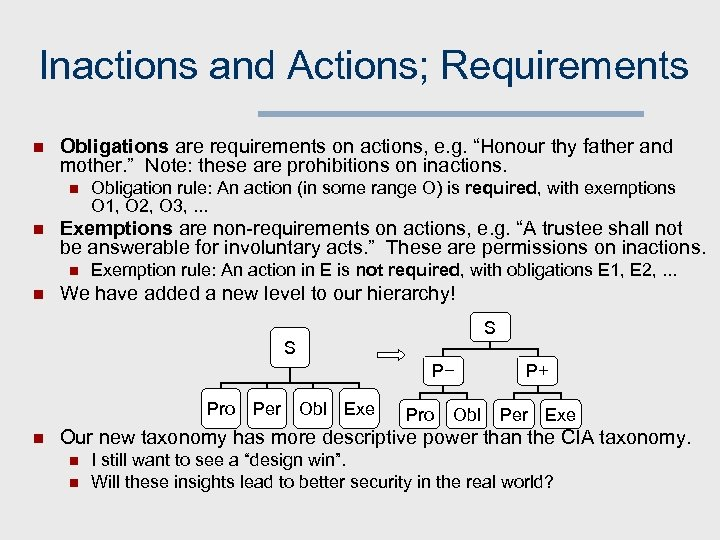 "Inactions and Actions; Requirements n Obligations are requirements on actions, e. g. ""Honour thy"