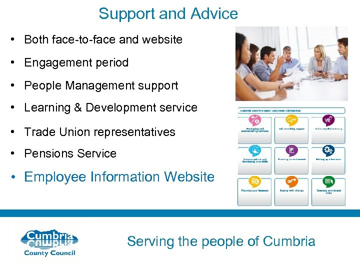 Support and Advice • Both face-to-face and website • Engagement period • People Management