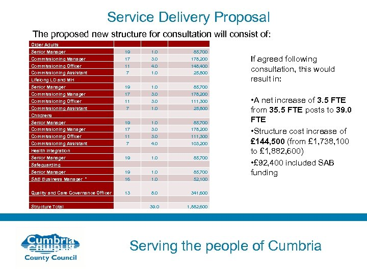 Service Delivery Proposal The proposed new structure for consultation will consist of: Older Adults