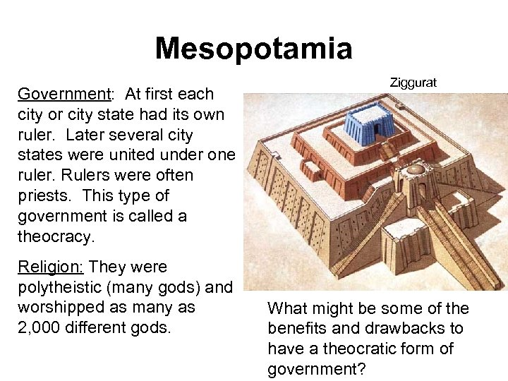 Mesopotamia Government: At first each city or city state had its own ruler. Later