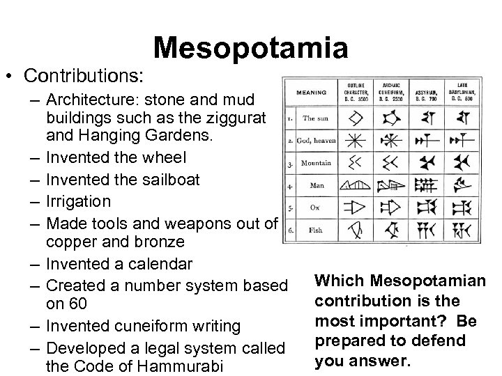 Mesopotamia • Contributions: – Architecture: stone and mud buildings such as the ziggurat and