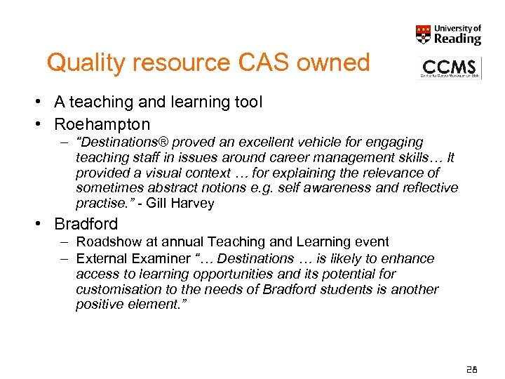 """Quality resource CAS owned • A teaching and learning tool • Roehampton – """"Destinations®"""