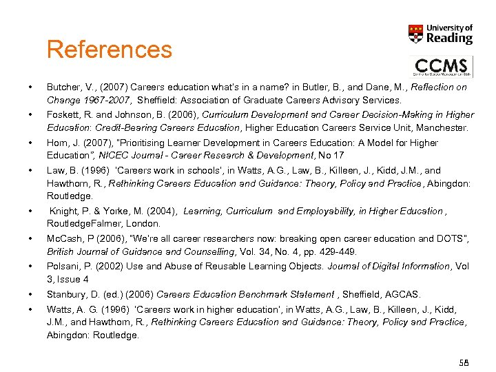References • Butcher, V. , (2007) Careers education what's in a name? in Butler,