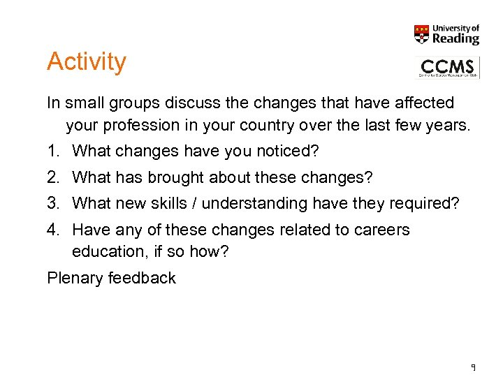 Activity In small groups discuss the changes that have affected your profession in your