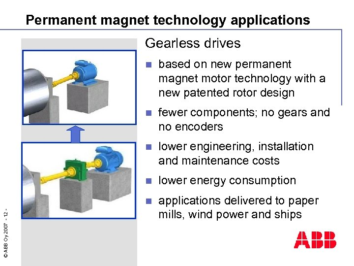 Permanent magnet technology applications Gearless drives based on new permanent magnet motor technology