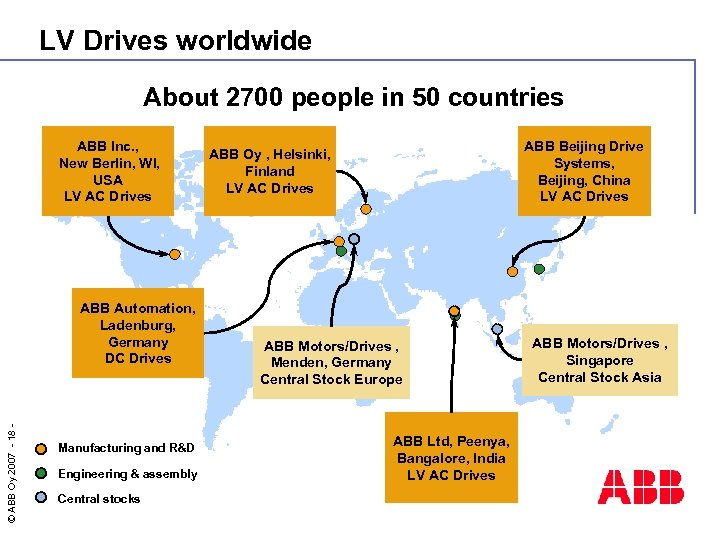 LV Drives worldwide About 2700 people in 50 countries ABB Inc. , New Berlin,