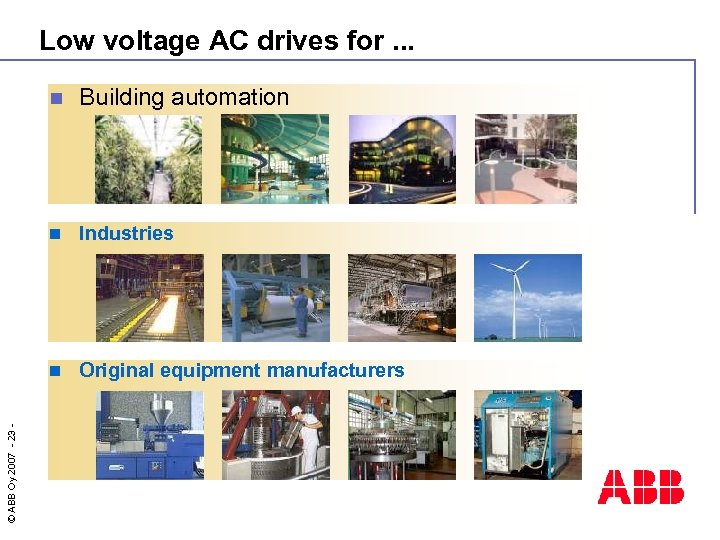 Low voltage AC drives for. . . Building automation n Industries n © ABB