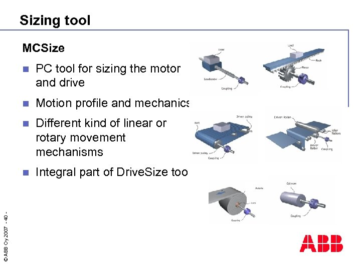 Sizing tool MCSize PC tool for sizing the motor and drive n Motion profile