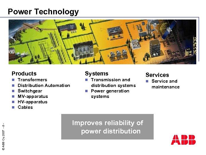 Power Technology Products © ABB Oy 2007 - 8 - n n n Transformers