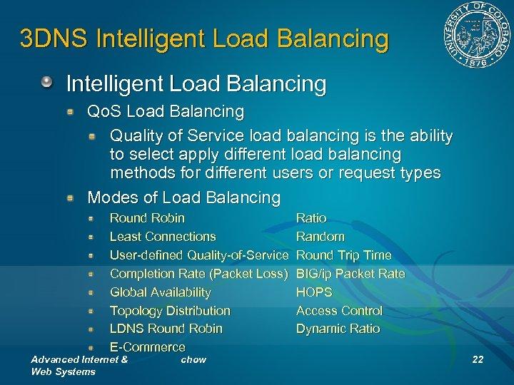 3 DNS Intelligent Load Balancing Qo. S Load Balancing Quality of Service load balancing