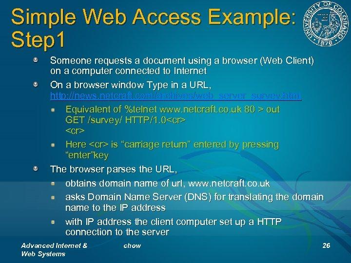 Simple Web Access Example: Step 1 Someone requests a document using a browser (Web