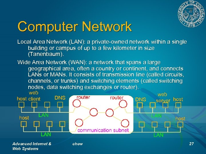 Computer Network Local Area Network (LAN): a private-owned network within a single building or