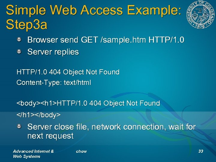 Simple Web Access Example: Step 3 a Browser send GET /sample. htm HTTP/1. 0