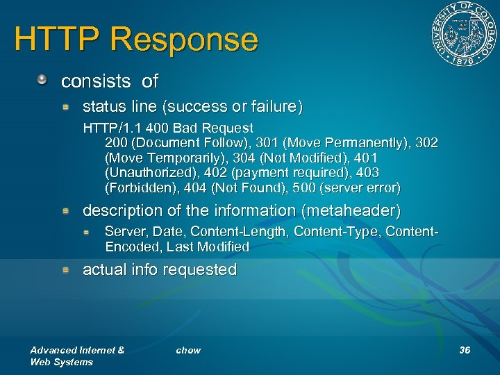 HTTP Response consists of status line (success or failure) HTTP/1. 1 400 Bad Request