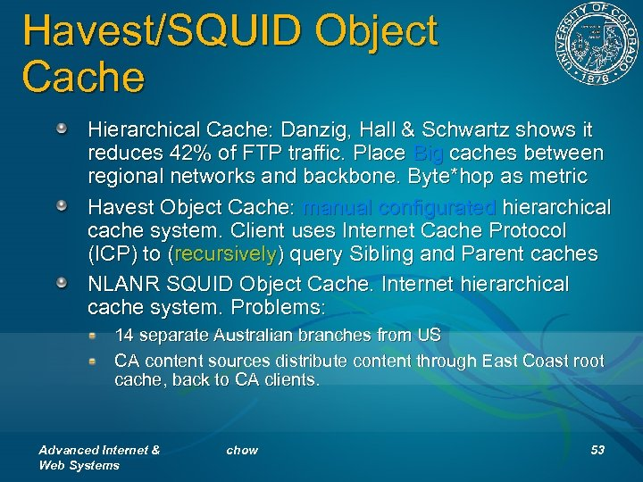 Havest/SQUID Object Cache Hierarchical Cache: Danzig, Hall & Schwartz shows it reduces 42% of