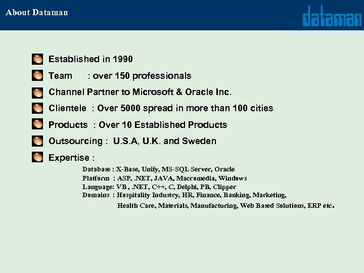 About Dataman Established in 1990 Team : over 150 professionals Channel Partner to Microsoft