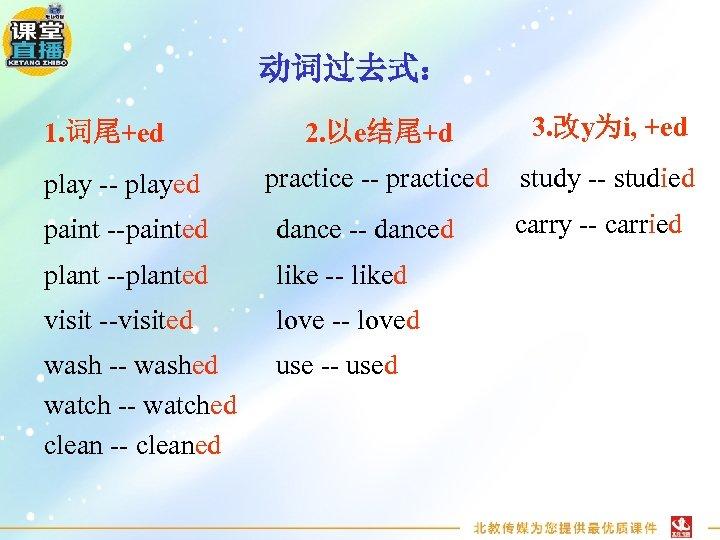 动词过去式: 1. 词尾+ed play -- played 2. 以e结尾+d 3. 改y为i, +ed practice -- practiced