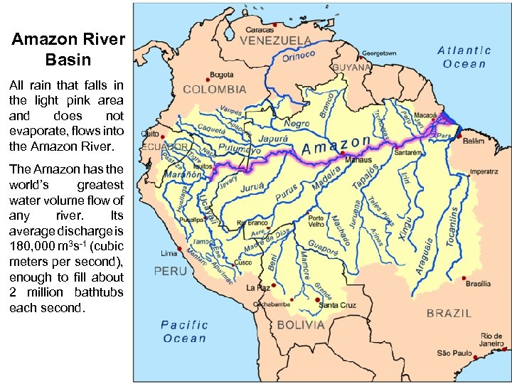 Amazon River Basin All rain that falls in the light pink area and does