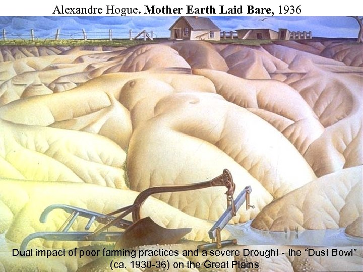Alexandre Hogue. Mother Earth Laid Bare, 1936 Dual impact of poor farming practices and