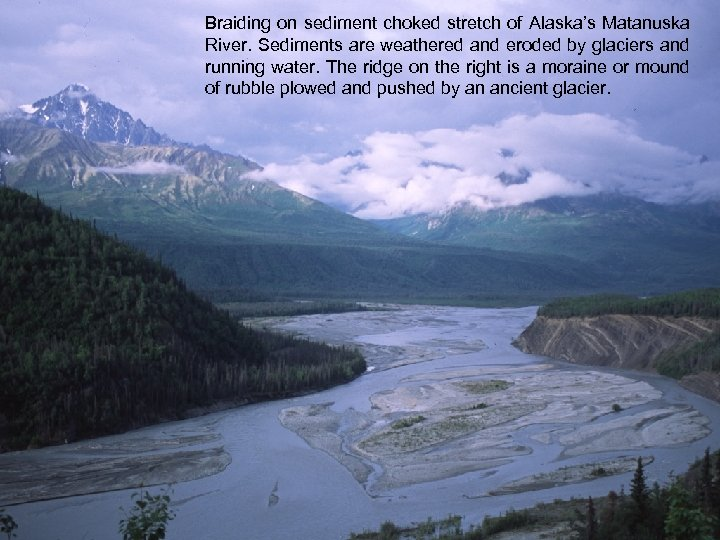 Braiding on sediment choked stretch of Alaska's Matanuska River. Sediments are weathered and eroded