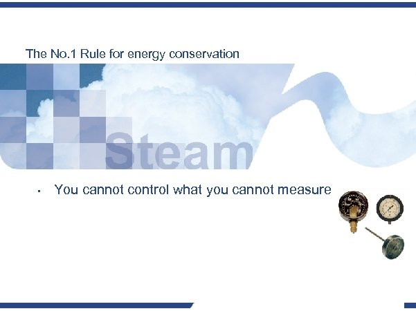 The No. 1 Rule for energy conservation • You cannot control what you cannot