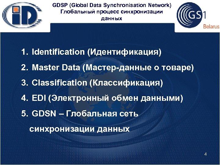 GDSP (Global Data Synchronisation Network) Глобальный процесс синхронизации данных 1. Identification (Идентификация) 2. Master